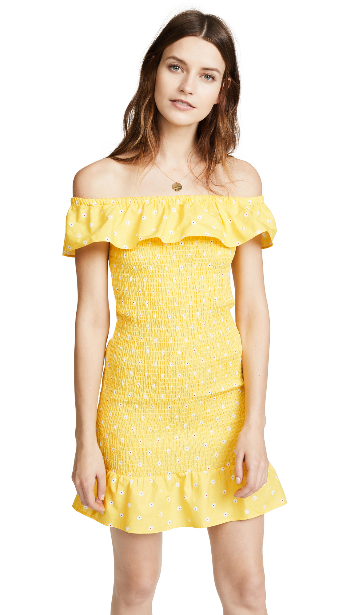 The Fifth Label Fiesta Dress In Yellow With White Daisy