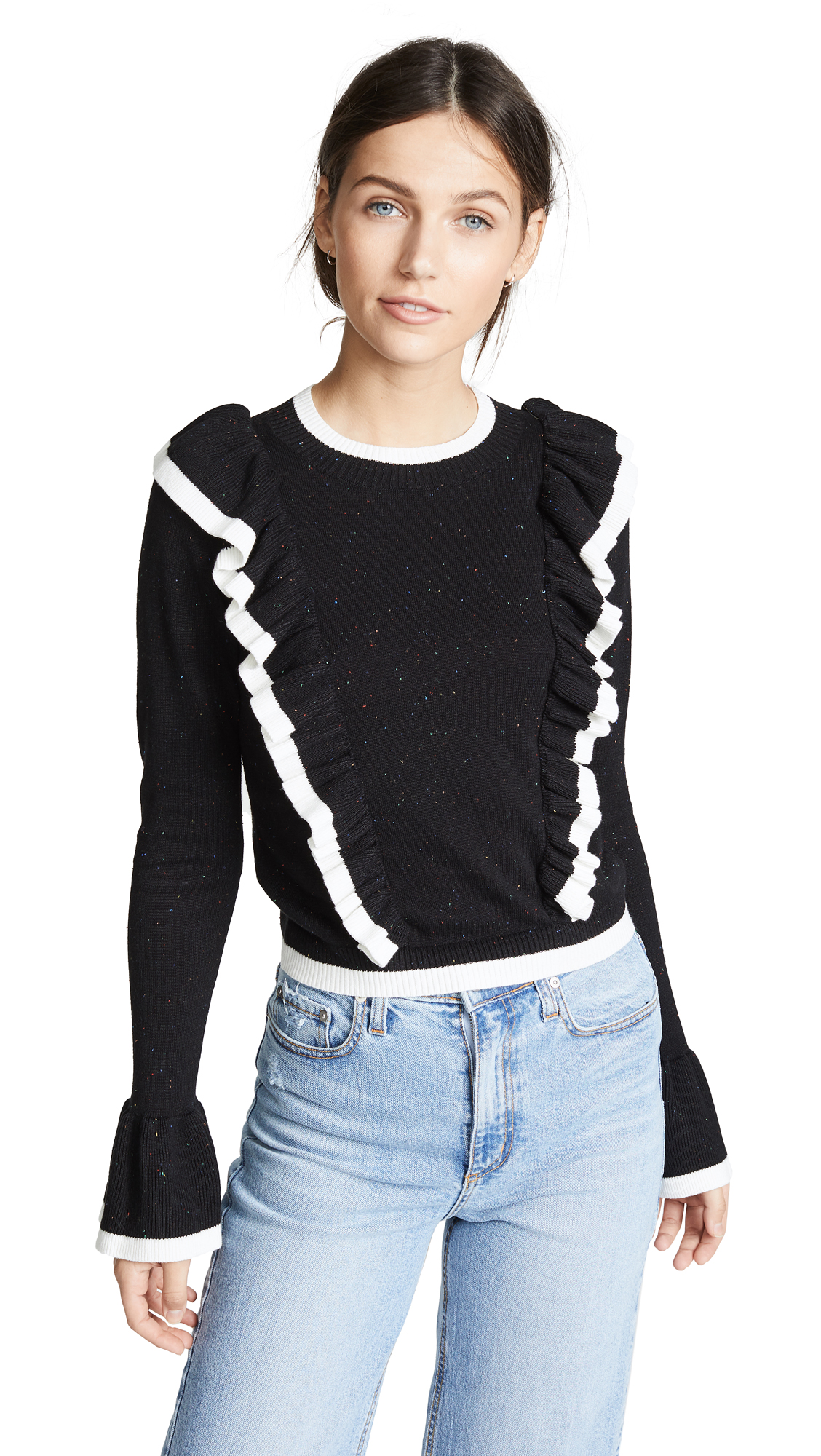 Transcript Ruffle Sweater, Black