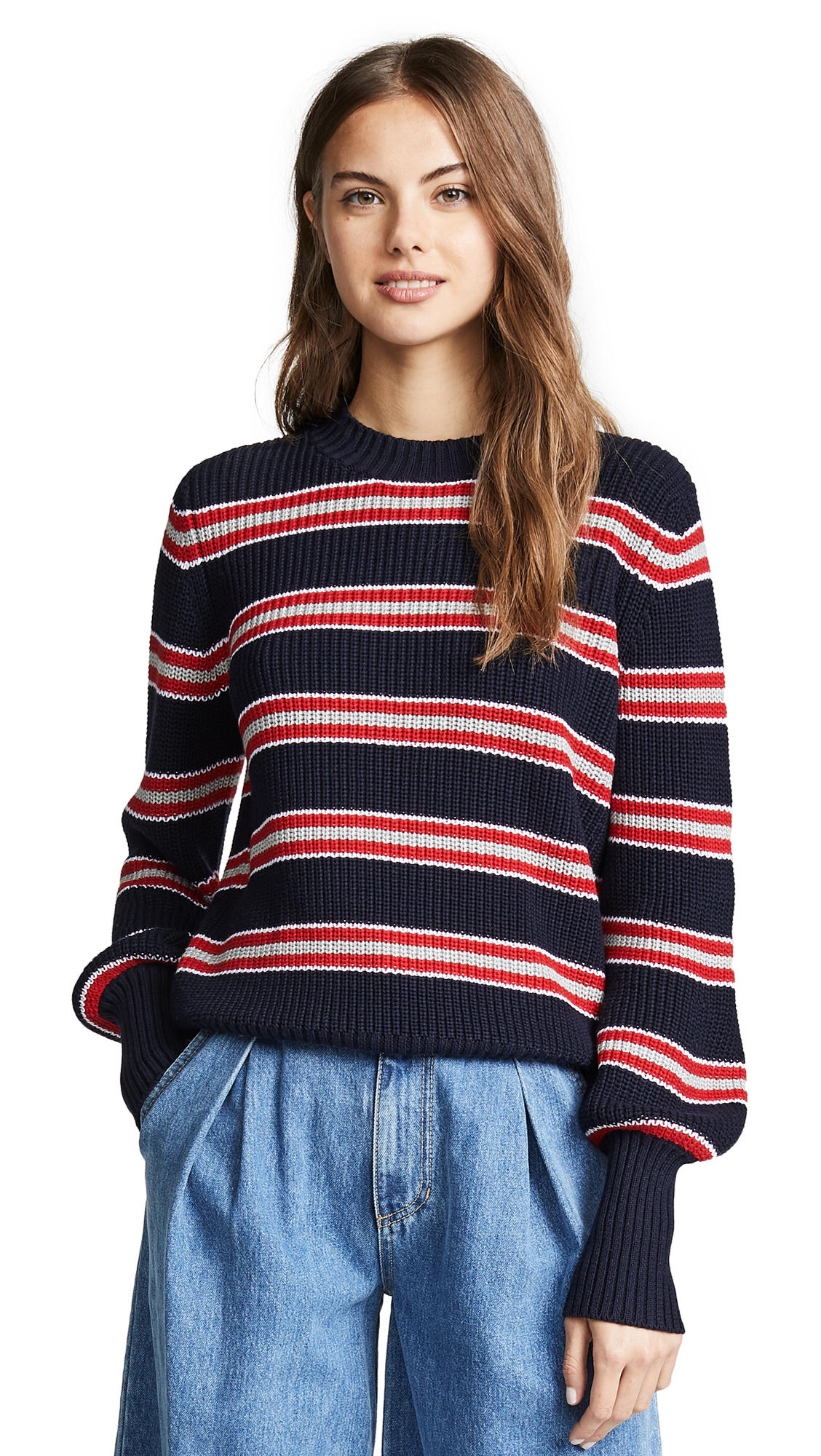 Defense Stripe Knit Sweater, Navy/Red