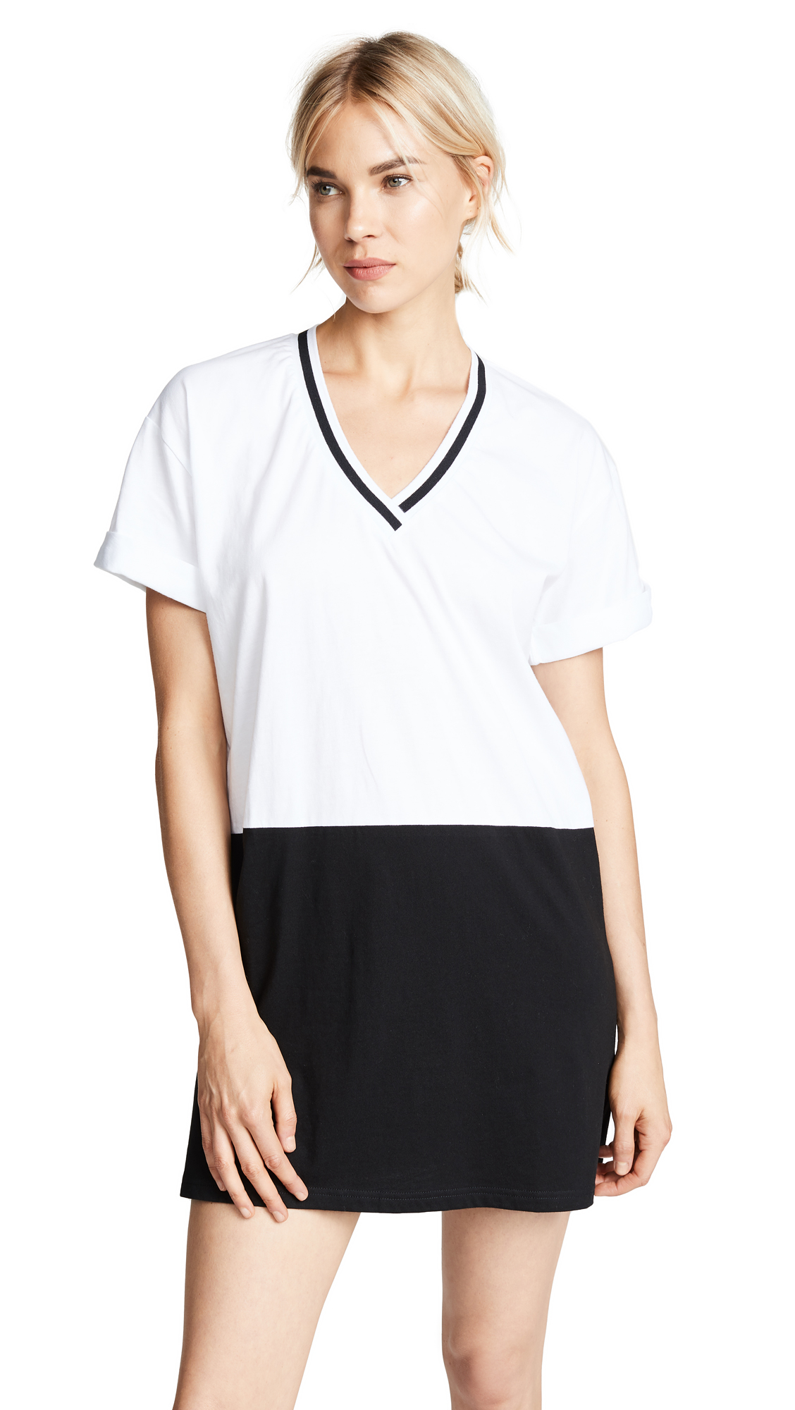 The Fifth Label Perimeter T-Shirt Dress In White/Black