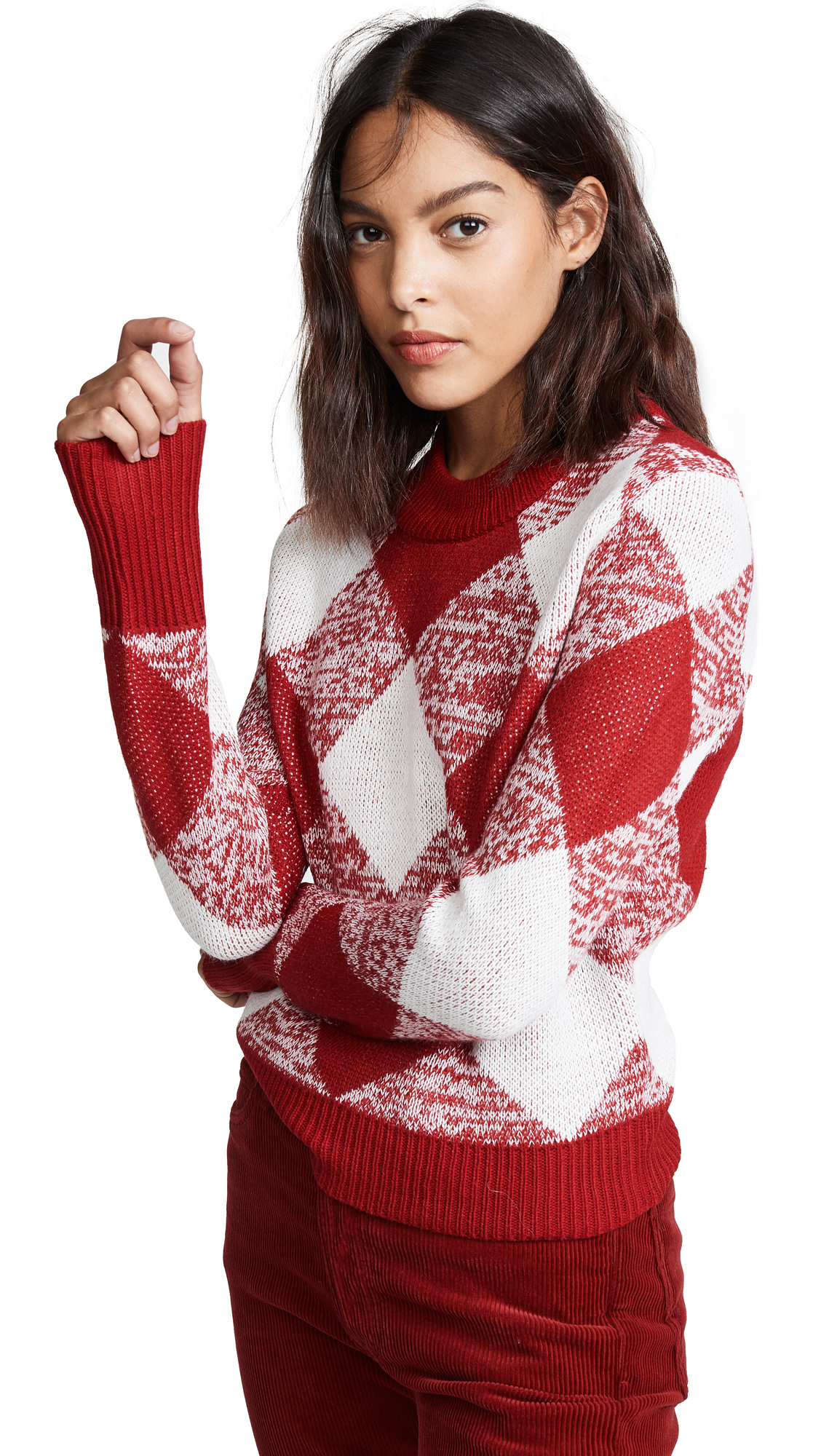 Oversize Gingham Knit Sweater, Red/White