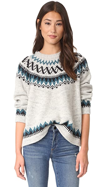 THE GREAT. The Chalet Sweater - Teal Fair Isle