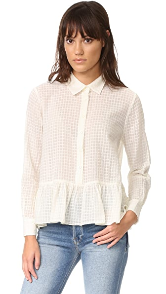 THE GREAT. The Ruffle Oxford Blouse