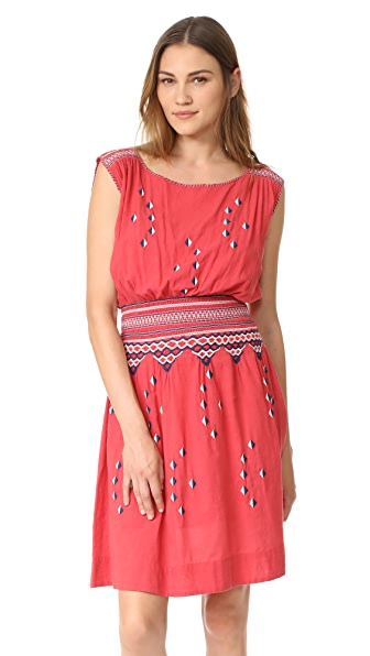 THE GREAT. The Deco Dress - Bright Pink with Navy/White