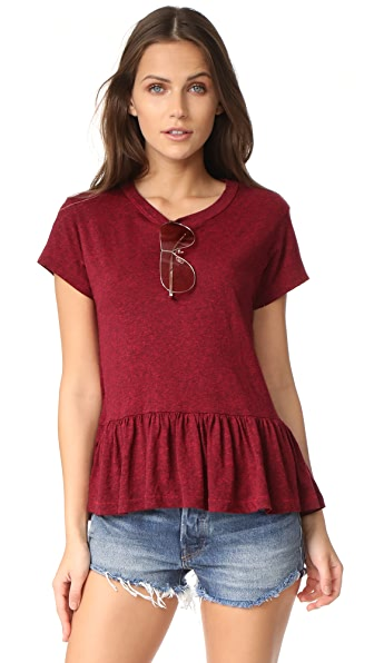 THE GREAT. The Ruffle Tee - Red Heather