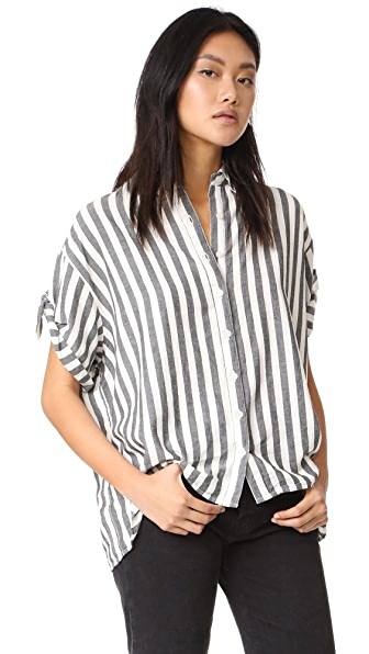 THE GREAT. The Tie Sleeve Big Shirt - Black & White Stripe