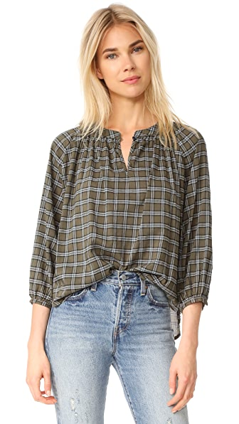 THE GREAT. The Wildflower Top - Army Green Plaid