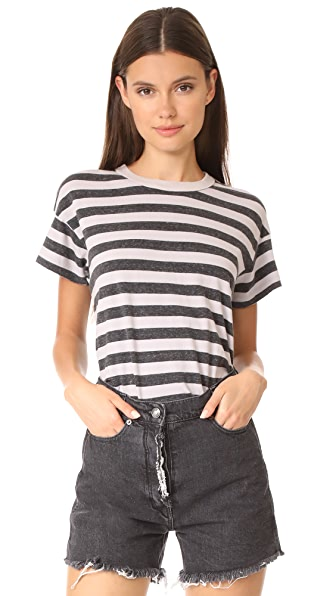 THE GREAT. Boxy Crew Tee In Heather Charcoal Stripe