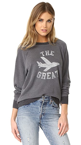 THE GREAT. College Sweatshirt In Charcoal Heather