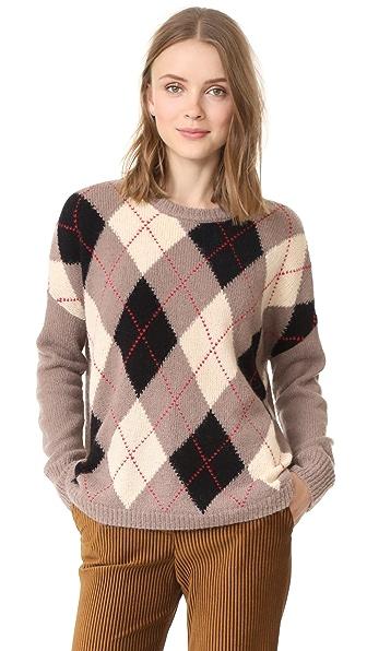 THE GREAT. The Argyle Crew Sweater - Prep School Argyle
