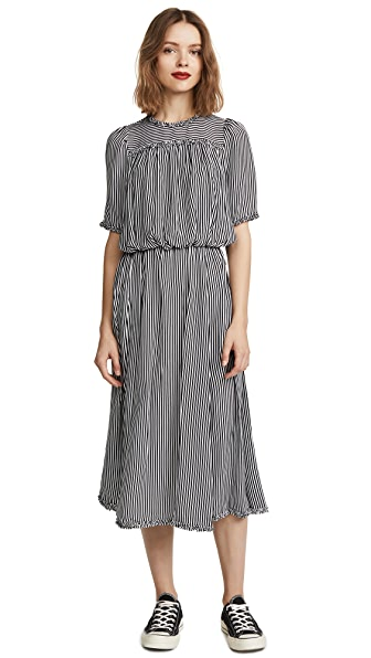 THE GREAT. The Confection Dress In Pencil Stripe