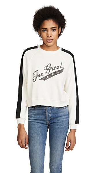 THE GREAT. The Cropped Sweatshirt In Washed White With Banner