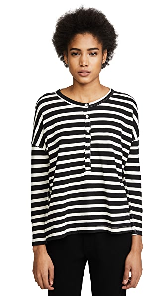 THE GREAT. The Slouch Henley In Black & Cream Stripe