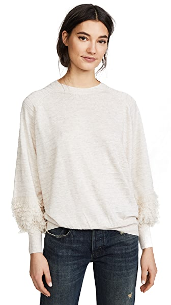 THE GREAT. The Loop Sleeve Sweater In Heather Oatmeal