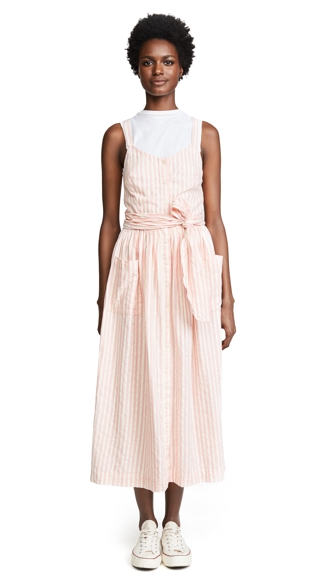 THE GREAT. The Carriage Dress In Saffron Stripe