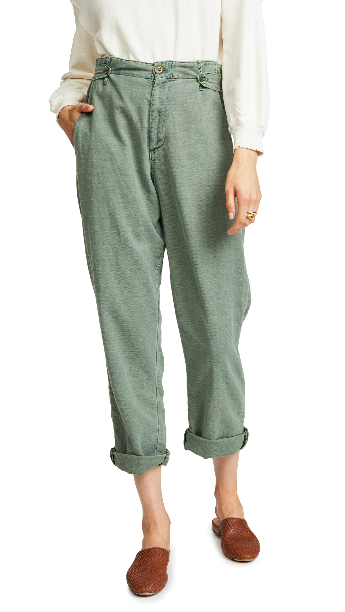 THE GREAT. The Explorer Trousers In Anitque Army