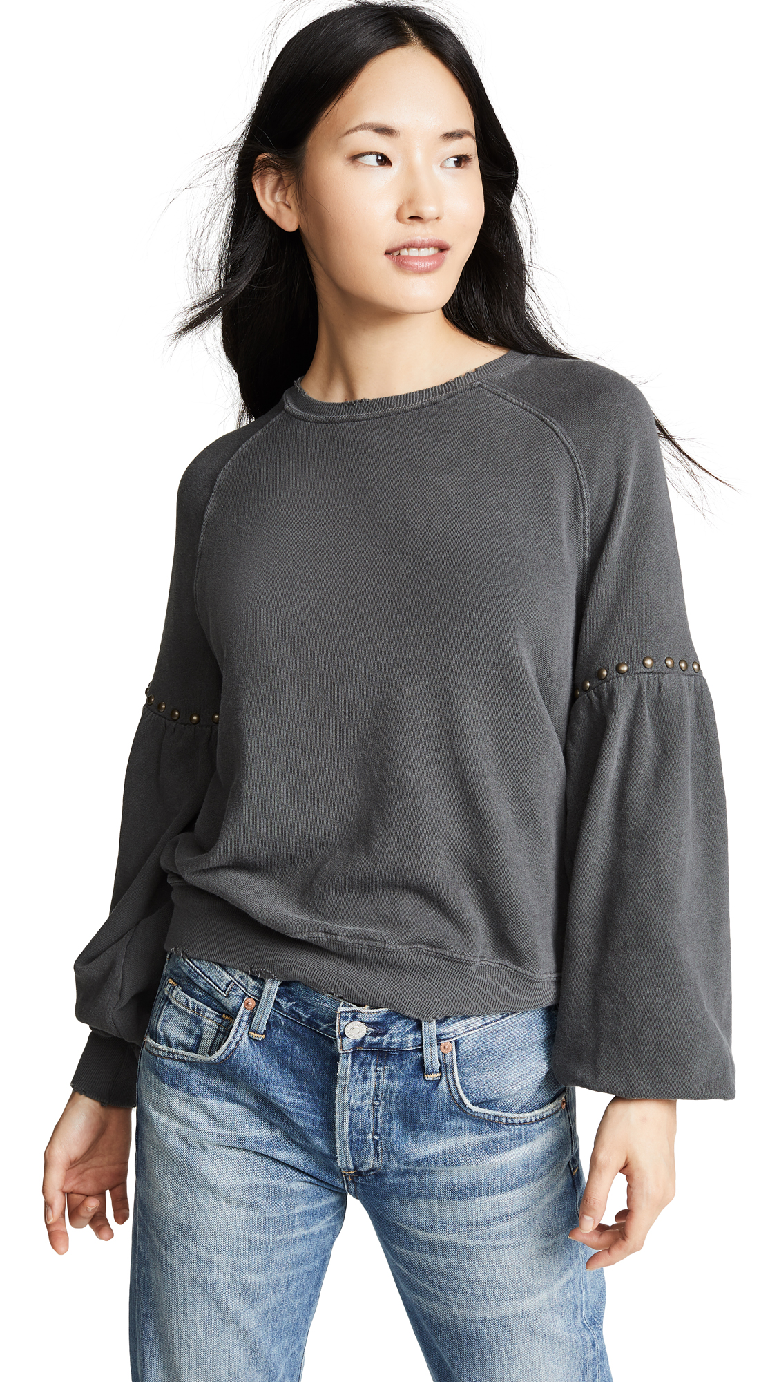 THE GREAT. The Bishop Sleeve Sweatshirt In Washed Black With Studs