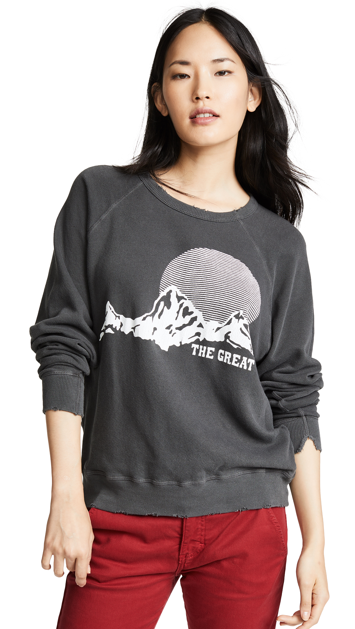 THE GREAT. The College Sweatshirt In Washed Black With Mountain
