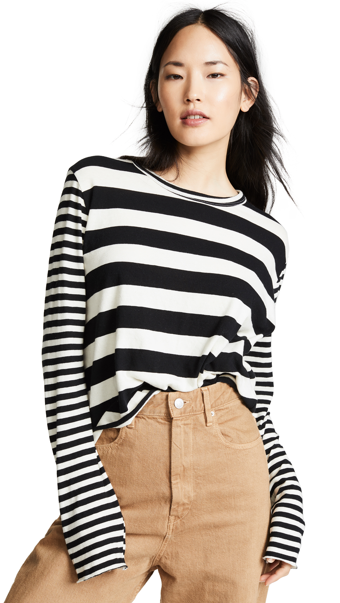 Striped Long-Sleeve Cropped Tee in Ivory