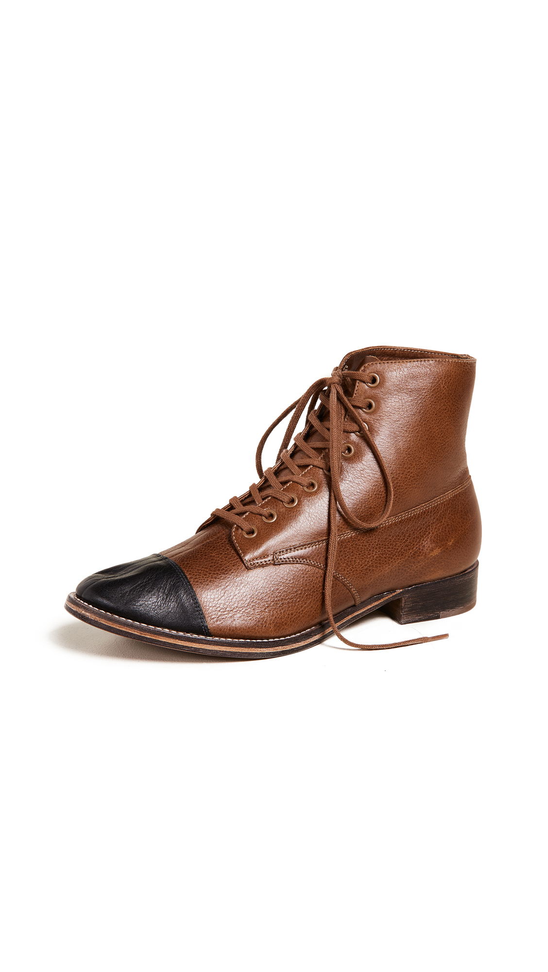 THE GREAT. The Cap Toe Boxcar Boots - Hickory/Black