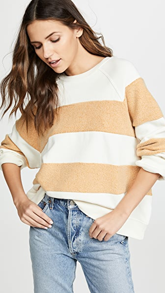The Great  STRIPED SLOUCHY SWEATSHIRT