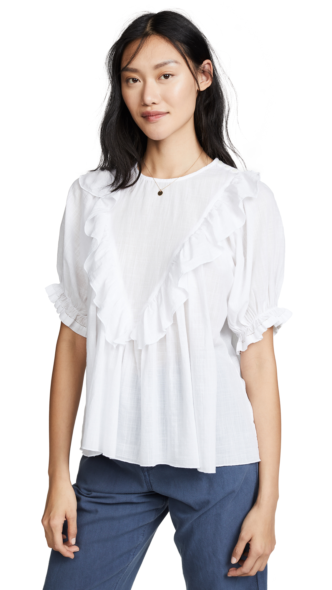 THE GREAT. The Ruffle Triangle Top - 40% Off Sale