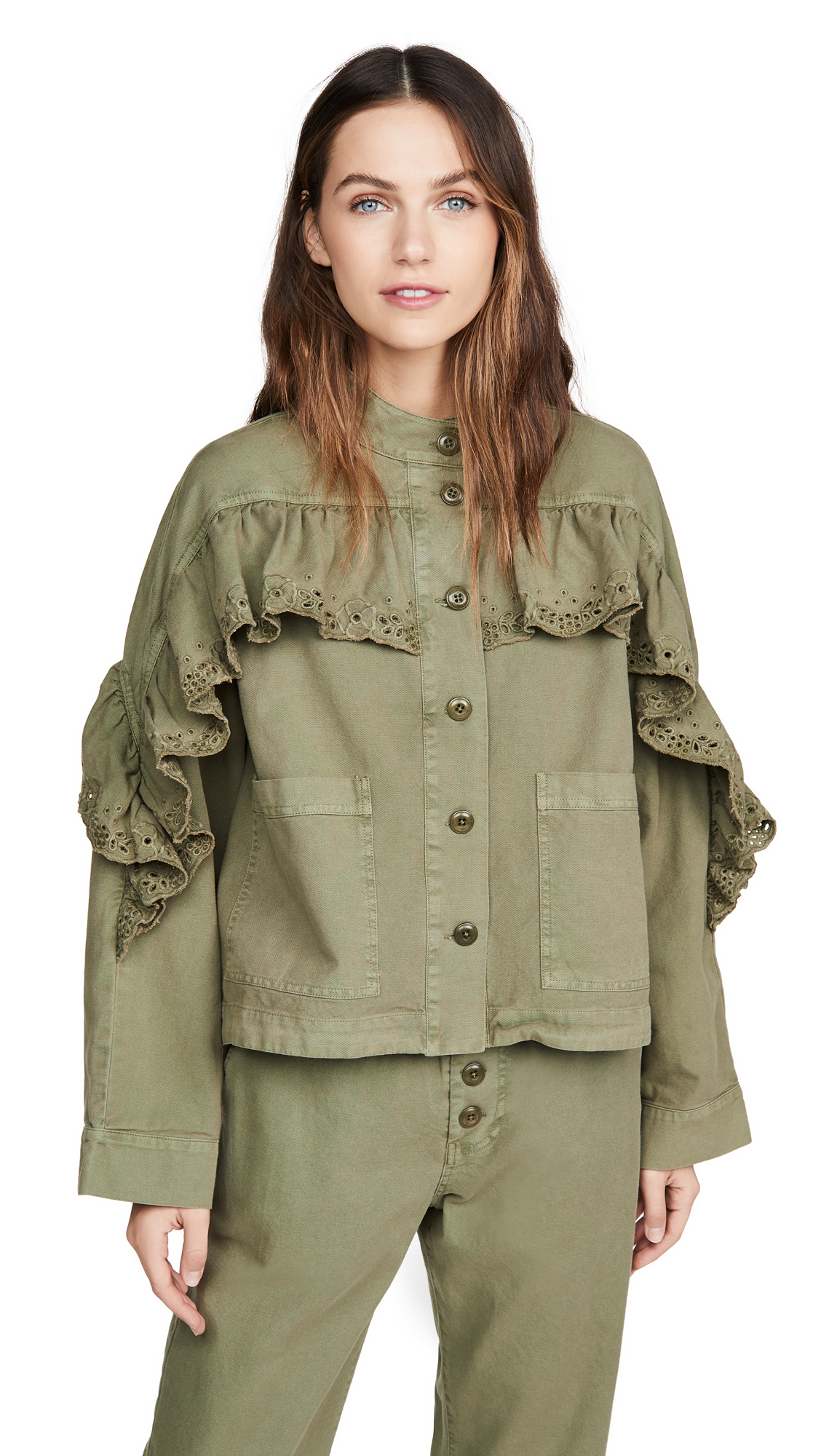 Buy THE GREAT. The Eyelet Army Jacket online beautiful THE GREAT. Jackets, Coats, Coats