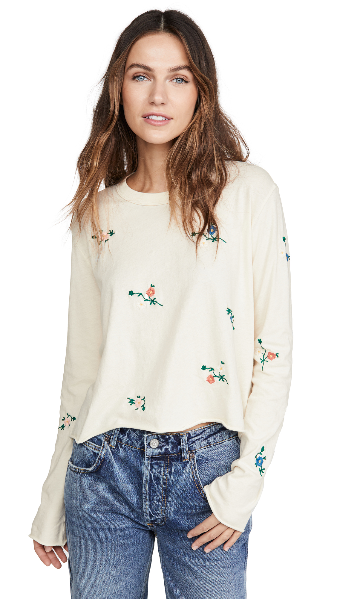 Buy THE GREAT. online - photo of THE GREAT. The Crop Tee with Floral Embroidery