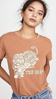 THE GREAT. Свободная футболка с округлым вырезом и изображением тигра
