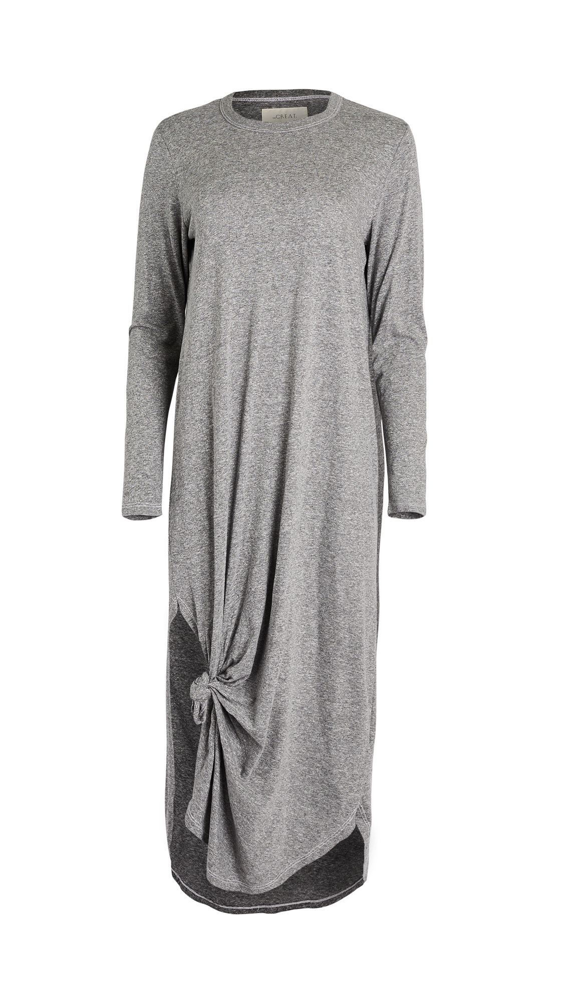 THE GREAT. Long Sleeve Knotted Tee Dress