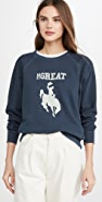 THE GREAT. The College Sweatshirt with Cowgirl Graphic