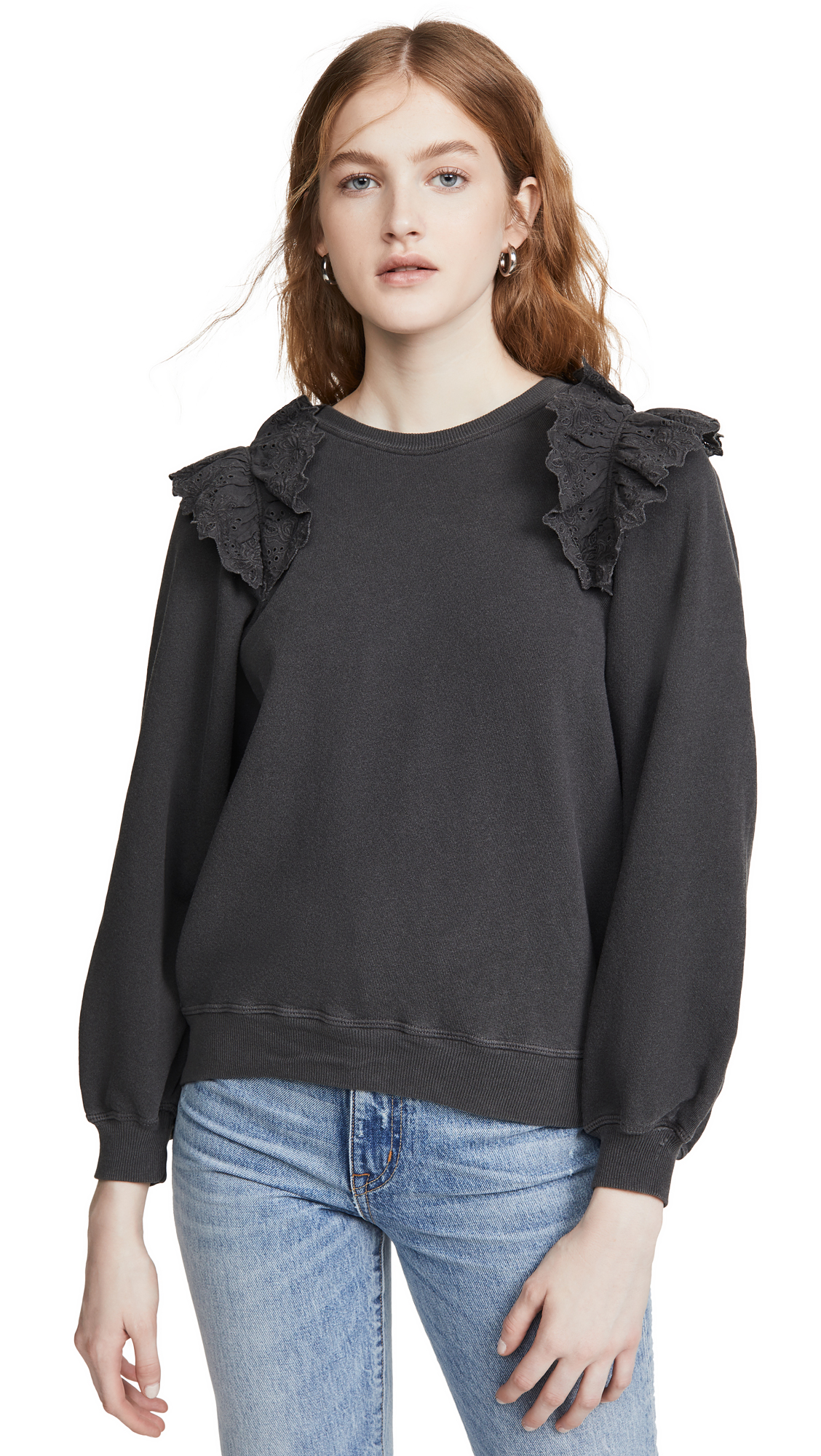 THE GREAT. The Eyelet Sweatshirt - 30% Off Sale