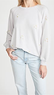 THE GREAT. The Bubble Sweatshirt with Daisy Embroidery
