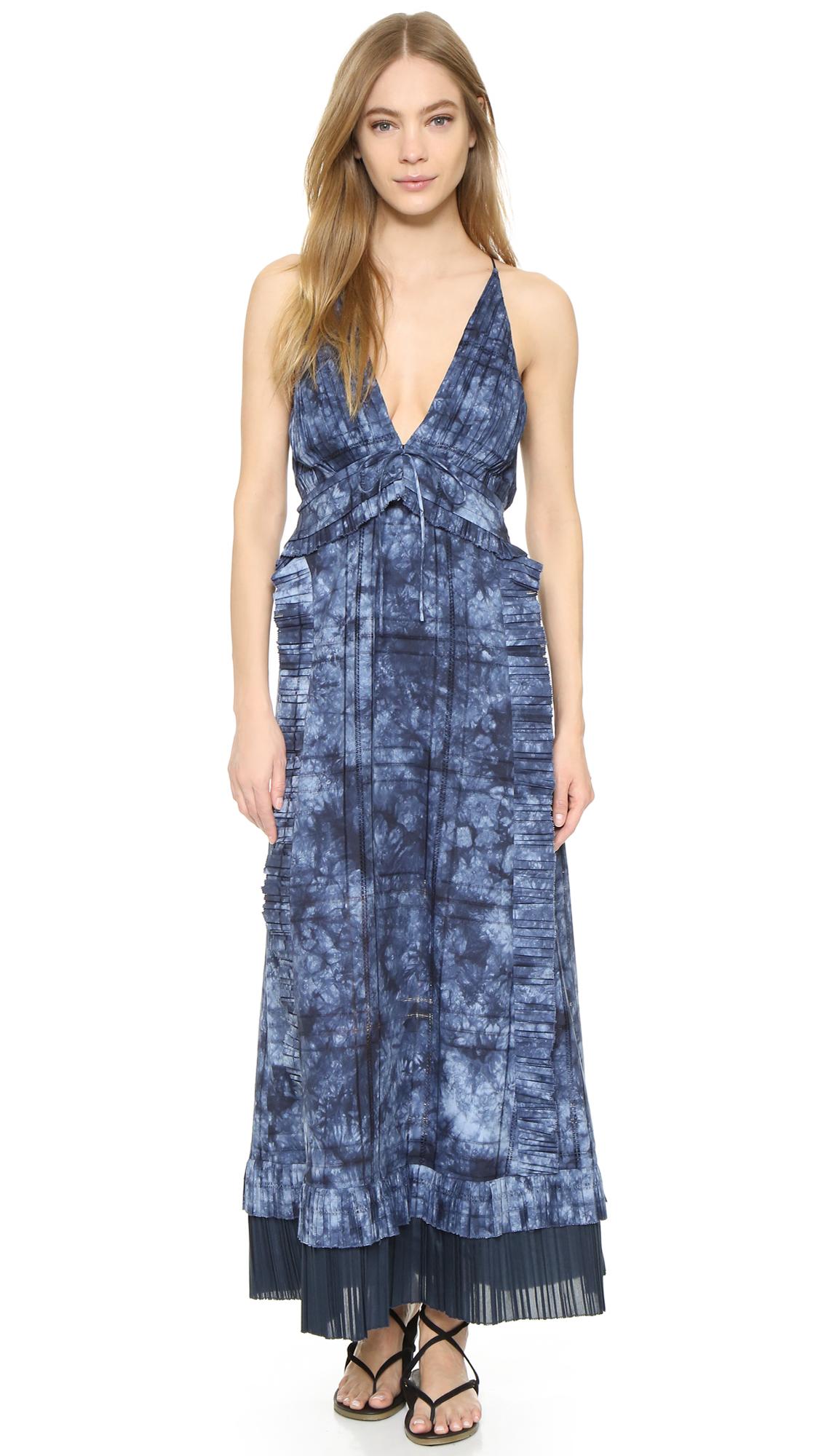 Thakoon Ruffle Front Long Dress - Indigo at Shopbop