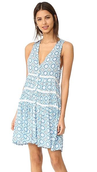 TIARE HAWAII Light House Mini Dress In Blue Stellar Print