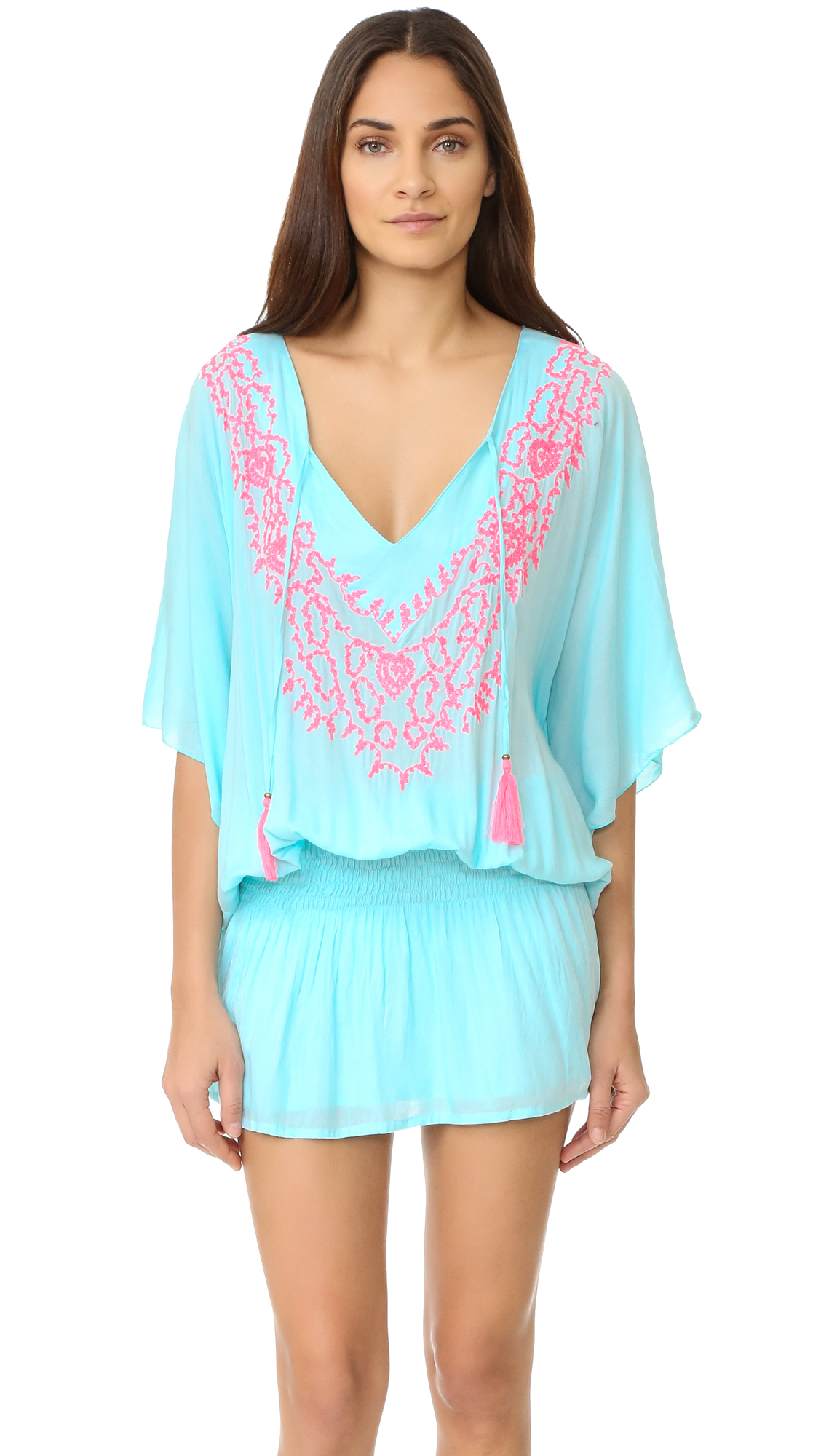 TIARE HAWAII Margarita Dress - Aqua/Pink