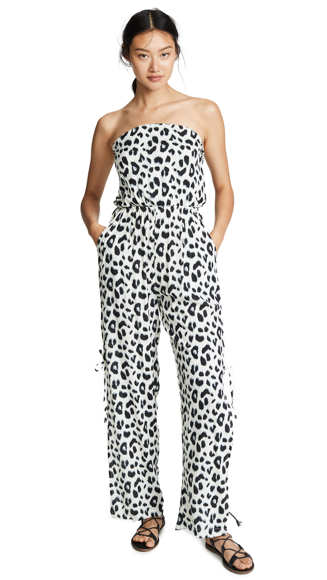 TIARE HAWAII Osaka Jumpsuit in Animal Off White/Black/Grey