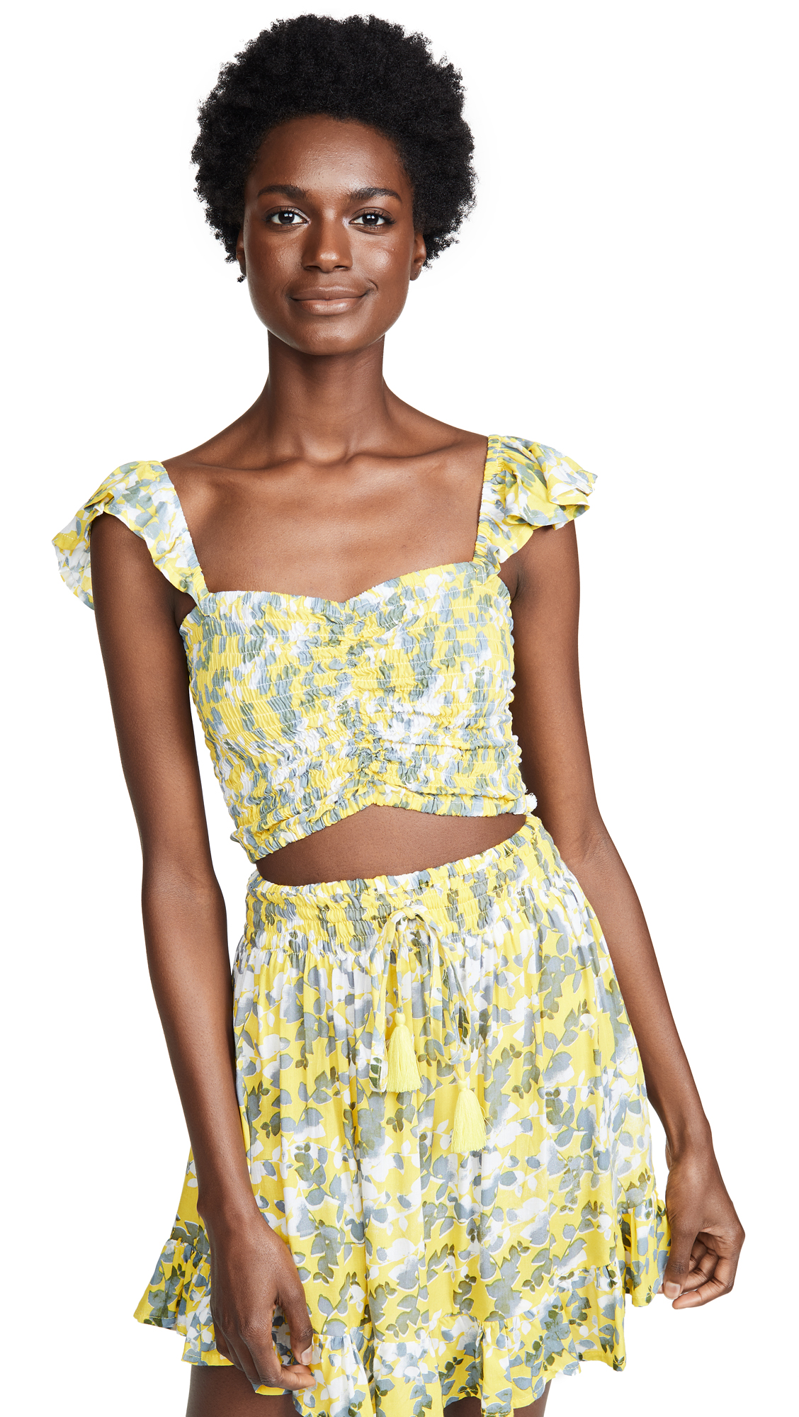 TIARE HAWAII Hollie Top & Skirt Set in Shimmer Yellow/Grey