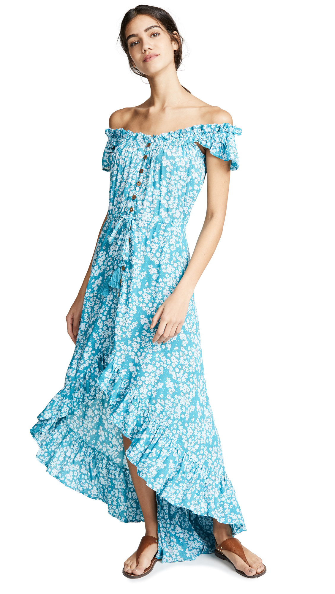 TIARE HAWAII Rose Long Dress in Stained Floral Tosca