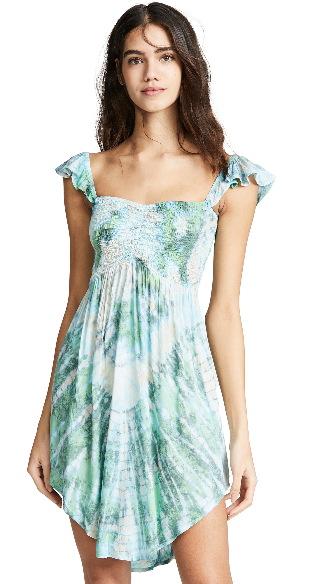 TIARE HAWAII Hollie Short Dress in Aqua/Green/Grey Vibe