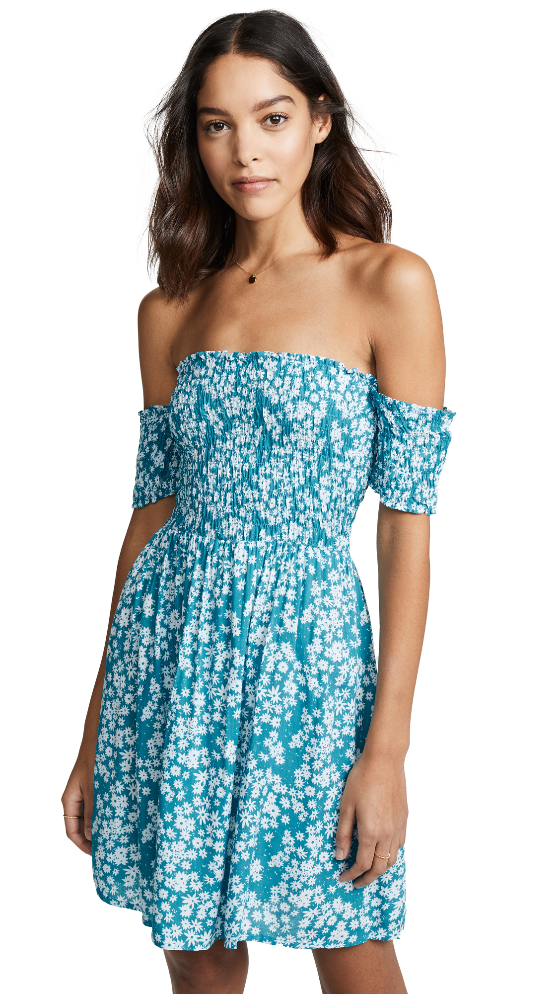 TIARE HAWAII Smocked Mini Dress in Scattered Daisy Tosca