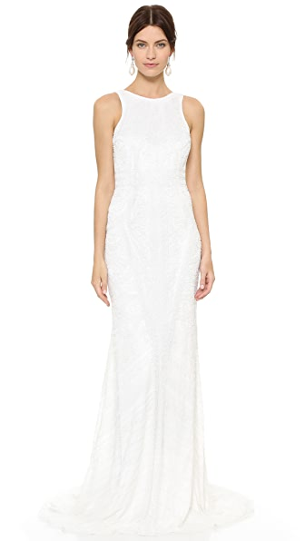 Theia Charlote Beaded Low Back Gown