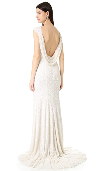 Theia Hayden Cap Sleeve Cowl Back Gown In Ivory