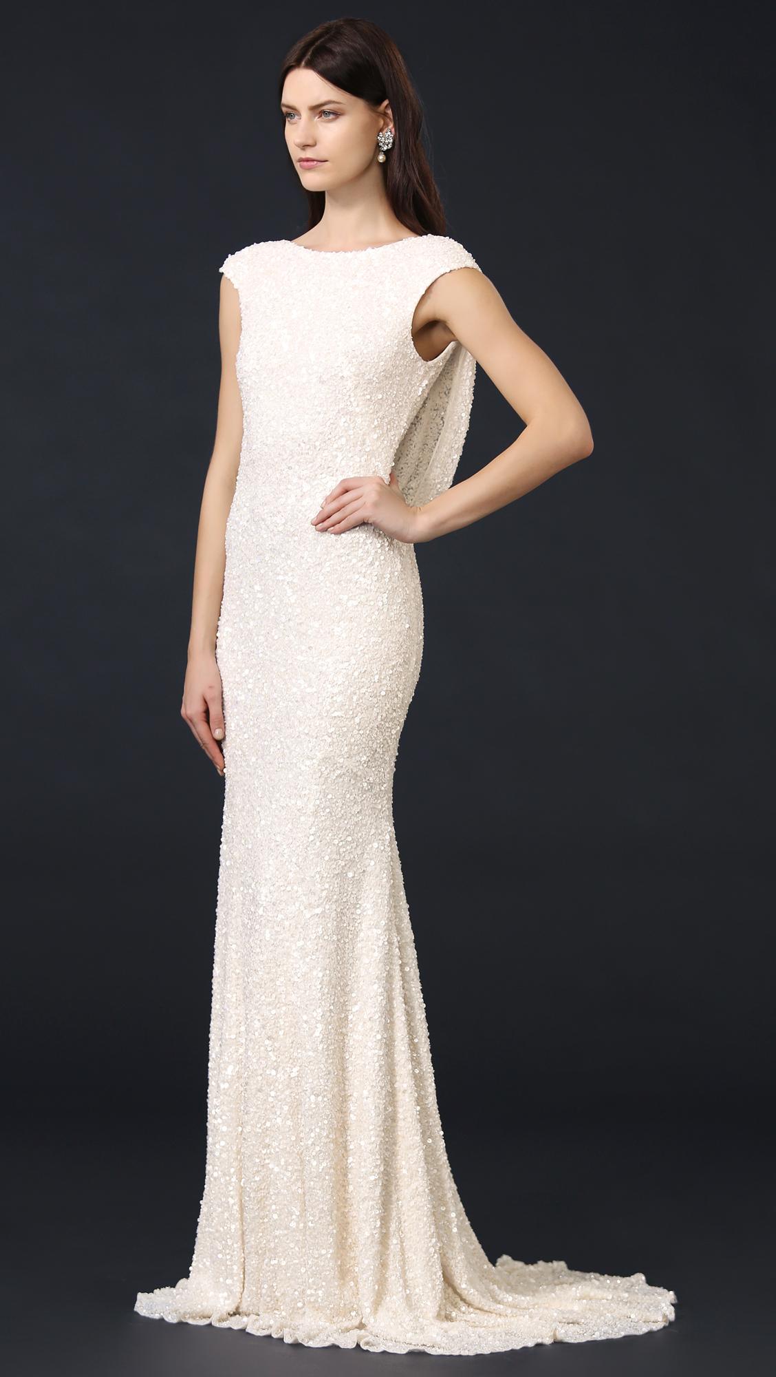 Theia Hayden Cap Sleeve Cowl Back Gown | SHOPBOP
