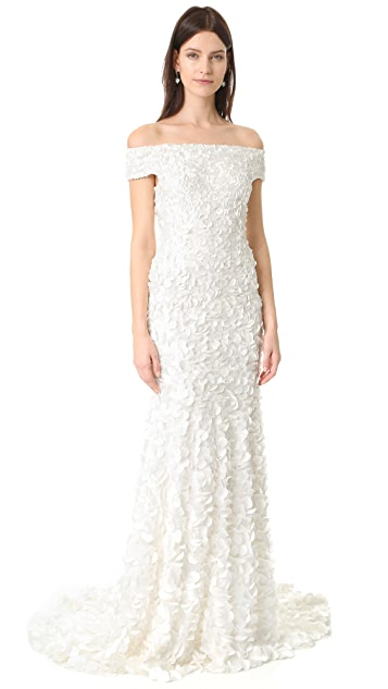 Theia Marina Off the Shoulder Petal Gown