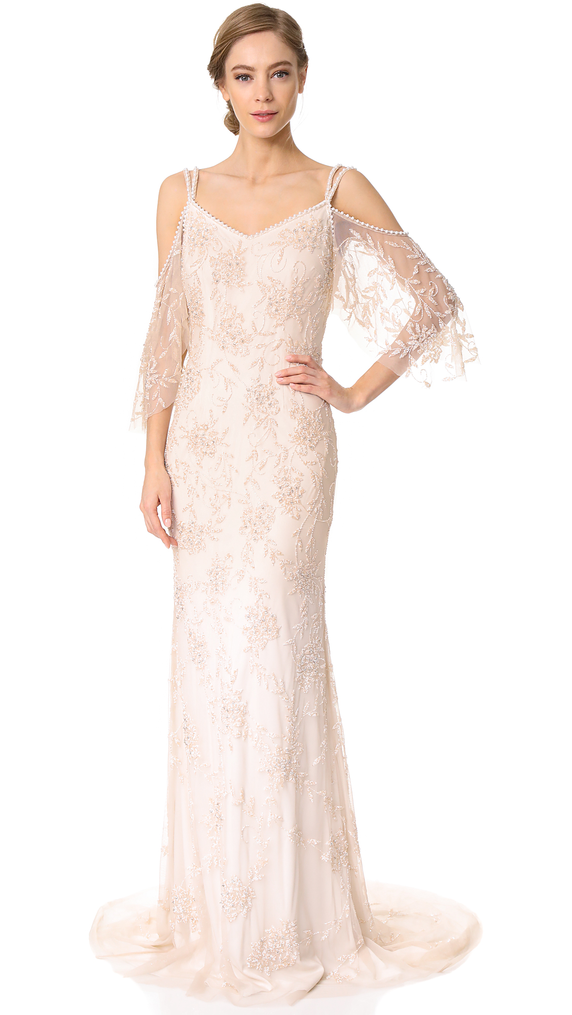 Theia Layla Off the Shoulder Slip Gown - Blush