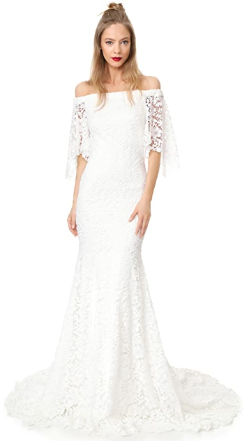 Theia Sasha Off the Shoulder Lace Gown