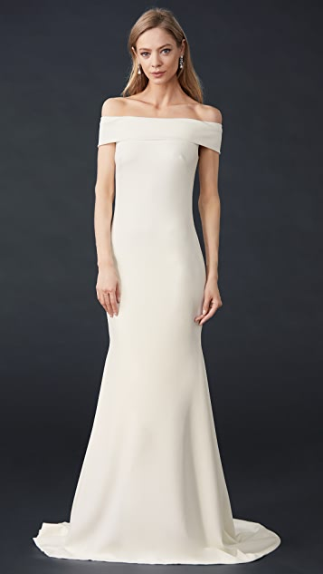 Theia Off Shoulder Crepe Gown