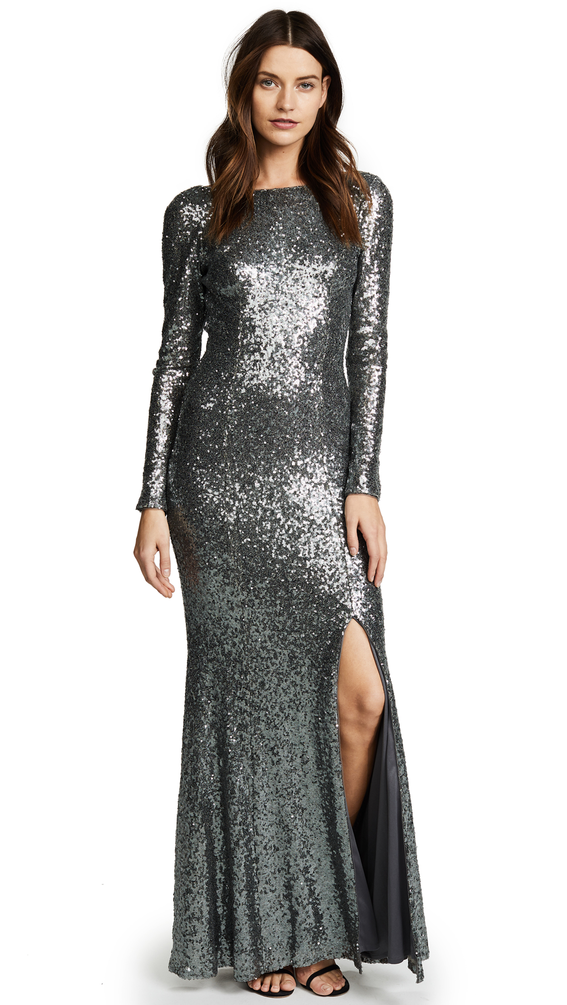 Theia Giselle Bateau Sequin Gown - Smoke