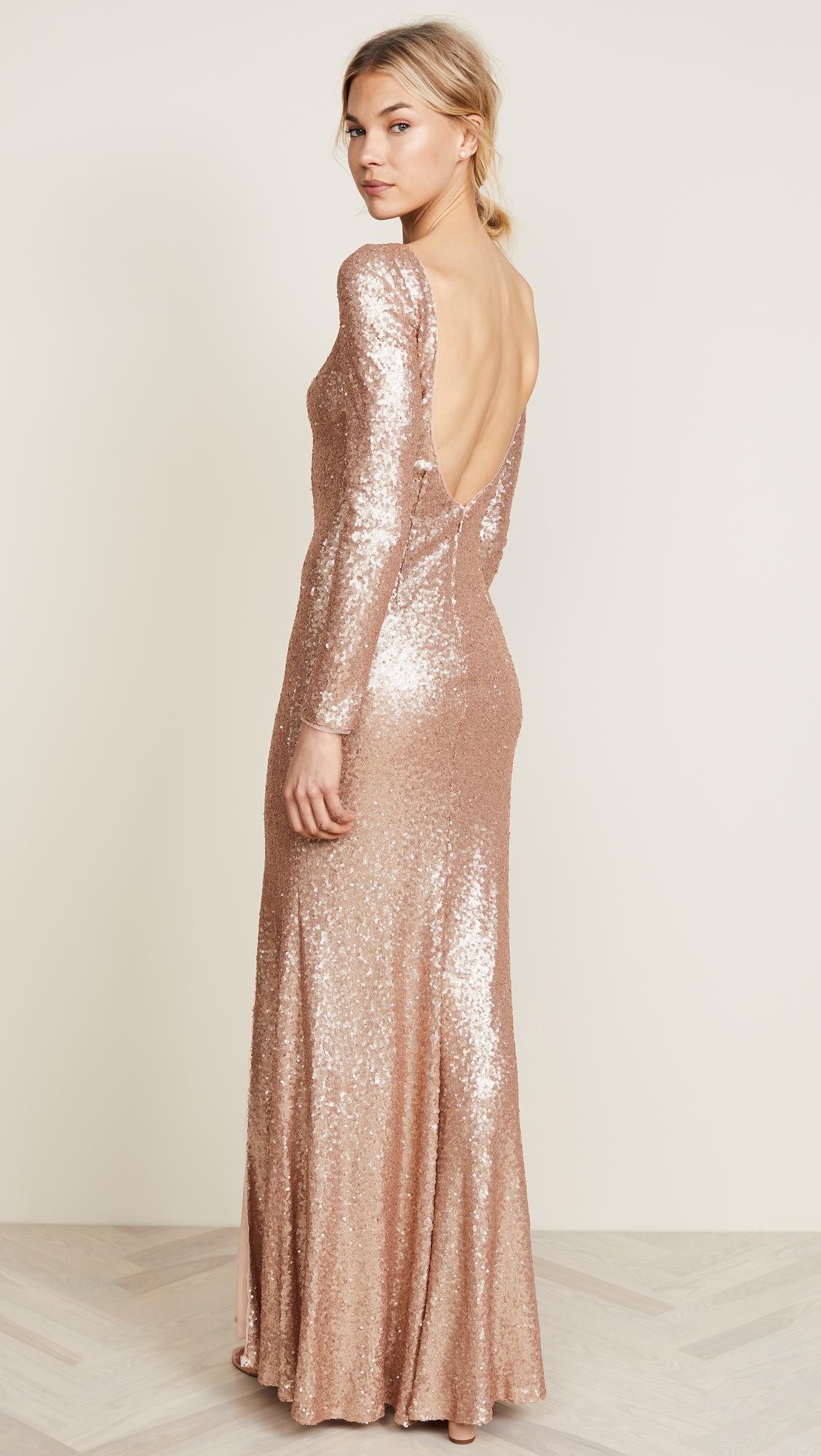Theia Giselle Bateau Sequin Gown Shopbop